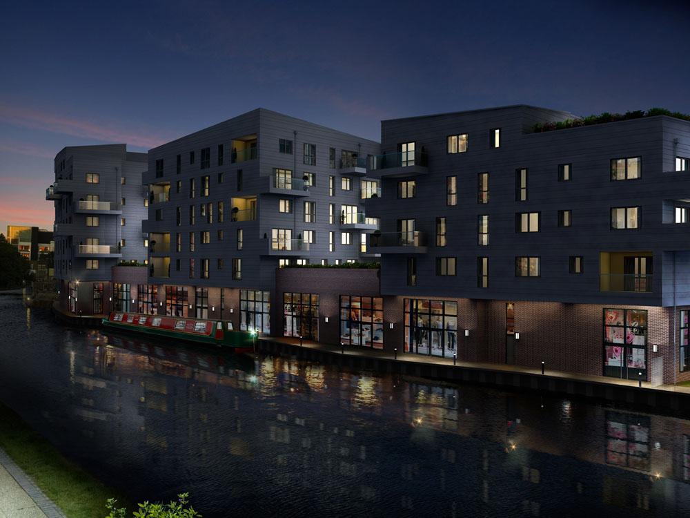 Apartments Night Exterior CGI