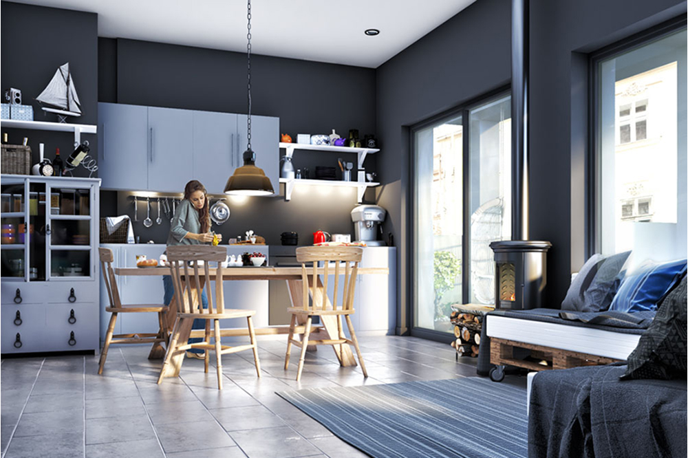 Kitchen Living Area Interior CGI